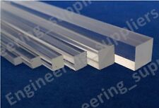Acrylic Square Rod Bar Clear Solid 3, 4, 5, 6, 8, 10 & 12mm, 100 to 600mm Long