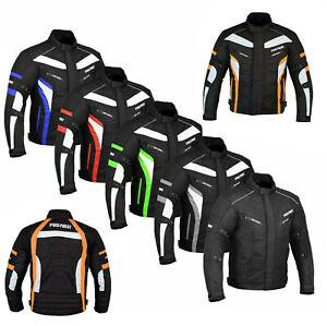 Men's Motorcycle Jackets Waterproof Cordura Textile Jacket Motorbike Armoured UK