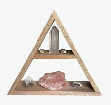 Wooden Triangle Crystal Shelf. Pyramid Shelving For Essential Oils And Gemstones