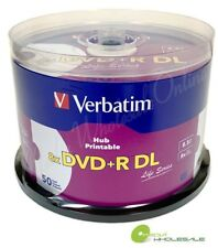 50 VERBATIM 8X  DVD+R DL Dual Double Layer 8.5GB  White Inkjet Printable Blank