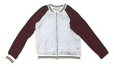 About A Girl Size Medium Burgundy Grey BROOKLYN Lightweight Bomber Jacket NEW