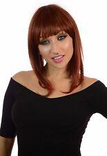 Alix Inverted Graduated Bob Full Fringe Hairstyle Wig   5 Natural Shades Ginger Spice