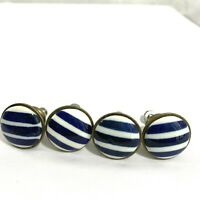 4 Blue White Striped Knobs Ceramic Doors Pulls Draws Cabinets