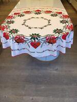 Nordic Scandinavian Round Vintage Christmas Tablecloth