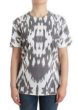 Nuevo con Etiqueta Pierre Balmain Top Estampado Camiseta Blusa Manga Corta Gris