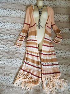 Lovely FOREVER 21 Full Length Tassell Hippie/ Boho Hooded Cardi Sz M UK 12/ 14