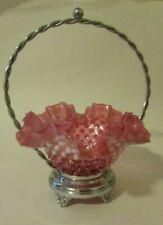 VINTAGE FENTON Pink Opalescent Bride's Basket