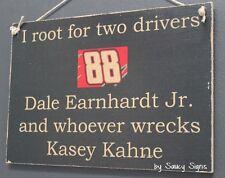 Dale Earnhardt Jr wrecks Kasey Kahne Driver Sign Racing Bar Man Cave Rare