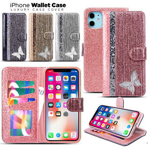Glitter Crystal Diamond Leather Flip Wallet Case Cover For iPhone 12 11 6 7 8 XS