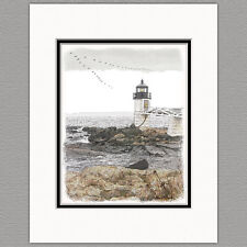 Marshall Point Lighthouse Maine Original 8x10 Art Print Matted to 11x14