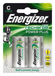2x HR14 Energizer Akku Power Plus C Baby 1,2V LR14 MN1400 E93 AM2 UM2 ½ Torcia