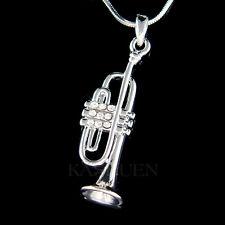 w Swarovski Crystal bach king Brass ~3D TRUMPET Music charm Necklace New Jewelry
