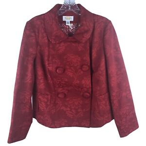 Vintage 80s Talbots Jacquard Jacket Size PM Red Double Breasted Lined Blazer