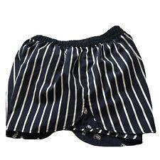 Mini Shorts M Juniors Striped Black Floral Navy Blue Reversible