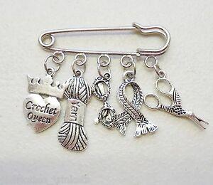 Crochet Queen Love Scissors Yarn Wool Scarf Specticles Brooch Kilt Pin