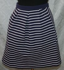 Boden Skirt US 4 R Navy Blue White Strip Womens Pleated Pleats Full A-line