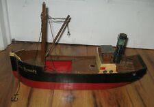 Antique 1930s Tri-Ang Triang Line Brothers Wooden Coaster Plymouth Boat Ship Toy