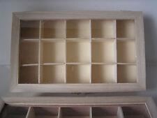 Sammelbox Holz, 15 Fächer, Sammlerbox Steine, Natur, Mineralien, Sortierbox