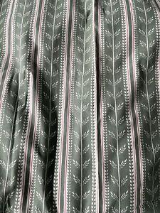 Ikea Vorhang Stoff Klassiker Olivgrün/creme mit feinen roten Streifen 140×200cm