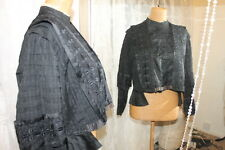 Victorian Edwardian black bodice - Ditsy Vintage - 14 16 Steampunk