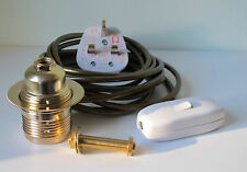 Brass lamp holder Kit ES fitting c/w 10mm thread switch 3 metres of wire plug