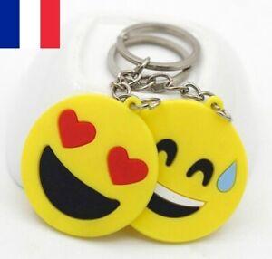 Lot de 5X Porte clé Emoji Emoticone jaune 5cm avec chaîne et anneau pour clef