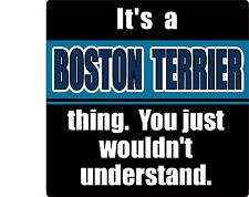 """""""IT'S A BOSTON TERRIER THING YOU JUST WOULDN'T UNDERSTAND"""" DOG 4"""" STICKER"""