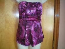 NEW NWT womens burgundy pink watercolor strapless top shirt size M free shipping