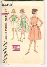 Vintage 1960's Simplicity Sewing Pattern # 4489 Top Wrap-Around Skirt And Shorts