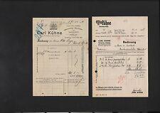 BERLIN, 2 x Rechnung 1906/38, Carl Kühne Essig Kühne Weinessig Mostrich Konserve