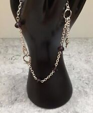 Bead Anklet 11�+ 1� Ext Handcuffs & Key 8x6mm Purple Crystal