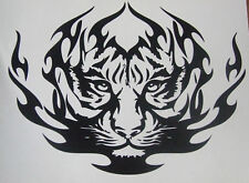 "MEDIUM 12"" car van bonnet tiger head tribal flames vinyl graphic side sticker vw"