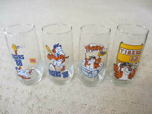Detroit Tigers 1988 Burger King 6 Inch Glass Tumblers Set of 4 Original