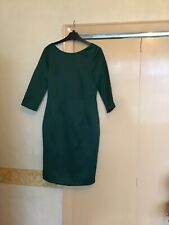 Emerald Green Satin Feel 3/4 Sleeve Dress Darling Size 10 V Back