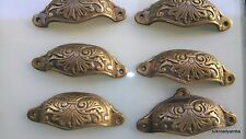 """6 cast engraved solid brass heavy shell shape pulls handle kitchen vintage 4"""" B"""