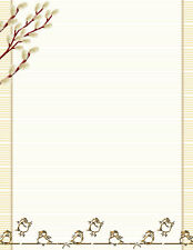 Gold Budding Trees & Birds Stationery Printer Paper 26 Sheets