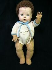 """Vtg. 1950's 13"""" American Character Tiny Tears Baby Doll / Caracul Wig ( Look! )"""