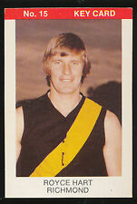 1975 Tip Top Sunblest VFL Royce Hart Richmond  Football Key Card No 15