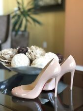 NEW Christian Louboutin Fifille Patent Leather Pumps In Nude Neutral Beige 36.5