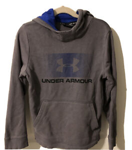 Under Armour Pullover Hoodie Boys Size Youth Small- Loose Grey with Black / Blue