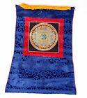 Om Mandala Thangka im blauen Brokatrahmen handgemalt Nepal Buddhismus Nr.13