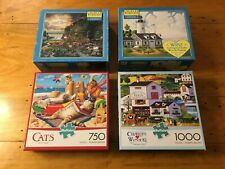 Lot Of 4 Complete Charles Wysocki Puzzles, Great Condition!