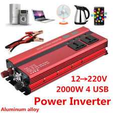 2000W 60Hz Car LED Power Inverter Converter DC 12V To AC 220V 4 USB Port Charger