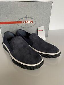 NIB PRADA Men's Blue Suede Slip-on Sneakers 7 US (Prada 6) 4D3168
