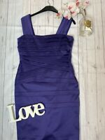 Phase Eight Size 14 purple bandage fitted wiggle party dress going out mini VGC
