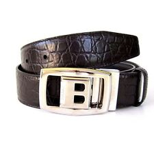 J-2147935 New Bally Black Leather Silver Buckle Belt Size 32 Fits 30