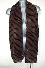WOLFORD TIGER SILK SCARF, SHAWL, COVER UP, DARK BROWN, Made In Italy, new in box