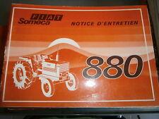 Someca Fiat tracteur 880 : notice utilisation 1975