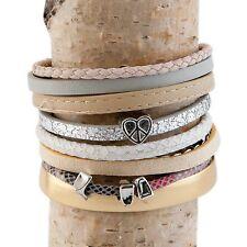 Clayre & Eef Bracelet en cuir rivets COEUR EN OR Beige Blanc Argent Rose