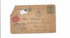 1914 Great Britain postal card  to Newark NJ  postage due   cut corner